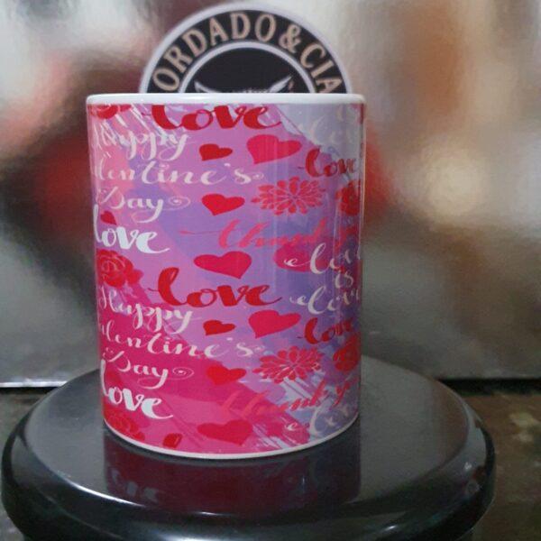 Caneca Dia dos Namorados - Love Rosa - by Bordado & Cia - @bordado.cia