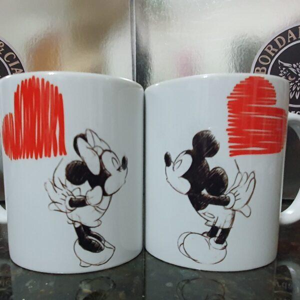 Caneca Dia dos Namorados - Mickey & Minie - by Bordado & Cia - @bordado.cia